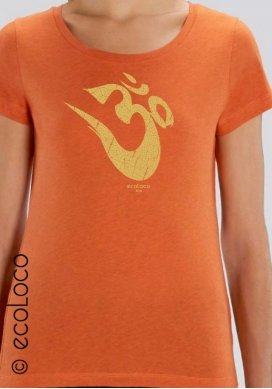 Bio-T-Shirt OM Yoga Mantra vegane Bekleidung ethische Mode Frau gedruckt in Frankreich Handwerker - Ecoloco