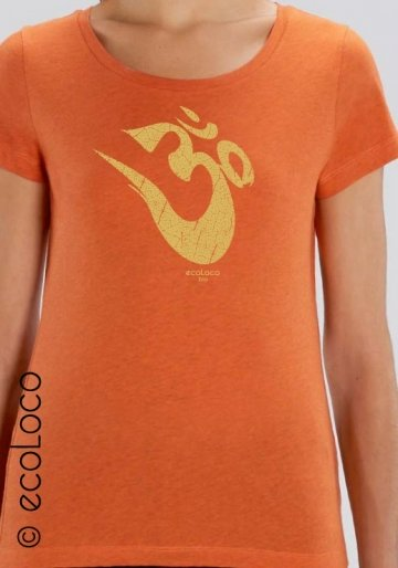 T-shirt bio OM Yoga Mantra imprimé en France artisan mode éthique fairwear vegan (col V)
