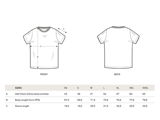 size chart short sleeve men t-shirt