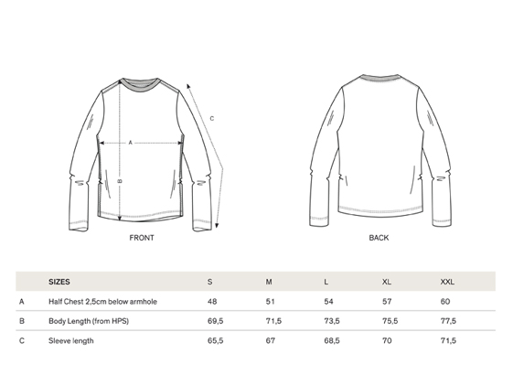 size chart long sleeve men t-shirt