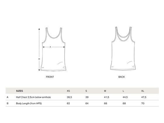 size chart women tank t-shirt
