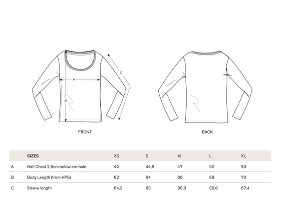 size chart long sleeve women langärmliges T-Shirt