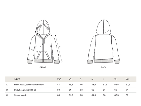 size chart women sweat-shirt